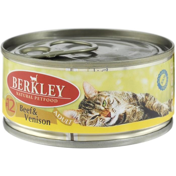 Консервы Berkley №12 для кошек, говядина с олениной, 100г фото