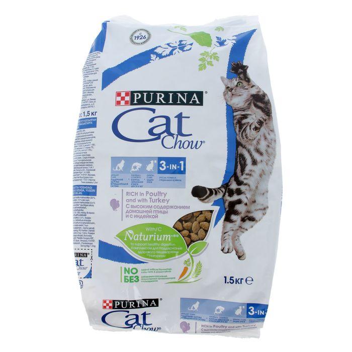 Сухой корм CAT CHOW 3 в 1 для кошек, 1.5 кг фото