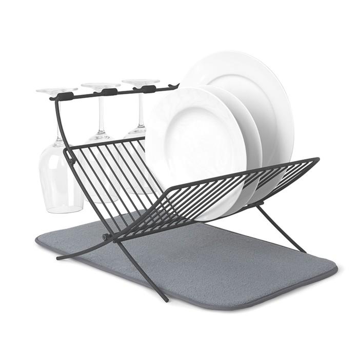 Сушилка для посуды c ковриком Xdry серая фото