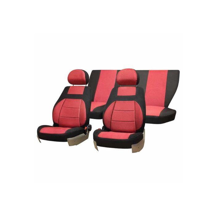 Чехлы сиденья LADA PRIORA 2007-2013 седан жаккард 12 предм. SKYWAY, красный фото
