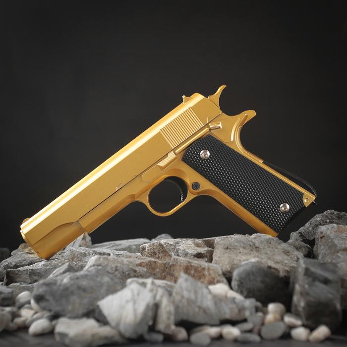 Пистолет пневматический пружинный Galaxy Colt 1911 G.13, золотистый, кал. 6 мм фото