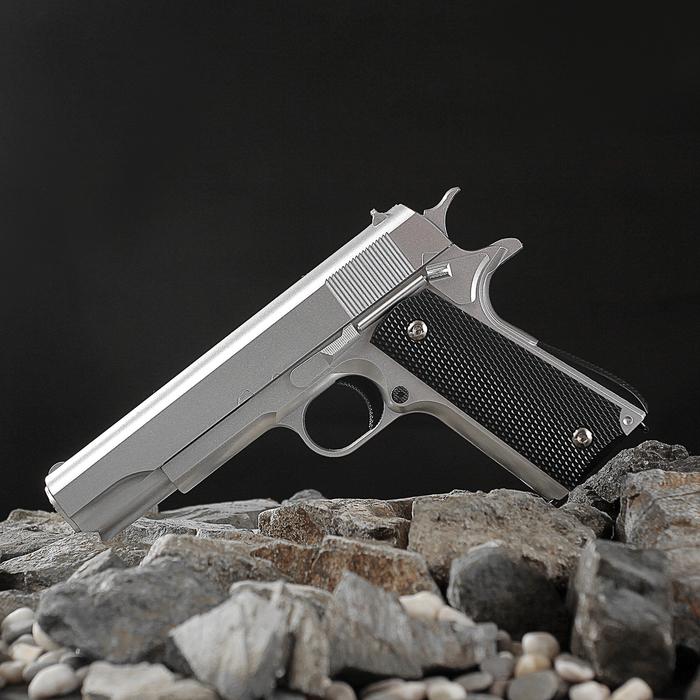 Пистолет пневматический пружинный Galaxy Colt 1911 G.13, серебристый, кал. 6 мм фото