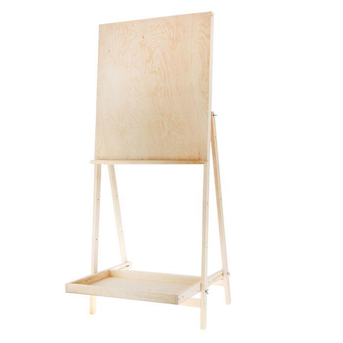 Мольберт тип «Хлопушка» 1450 х 500 х 650, планшет 700 х 500, с полочкой, большой, «Школа Художников» фото