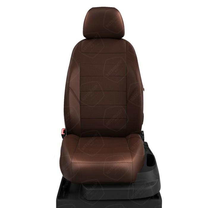 Чехлы для Toyota Prius 3 с 2009-н.в. хэтчбек Задняя спинка 40/60, сиденье единое. Задний подлокот., 5-подголов. Середина: экокожа шоколад с перф.. Боковины: шоколад экокожа. Спинка: шоколад экокожа. фото