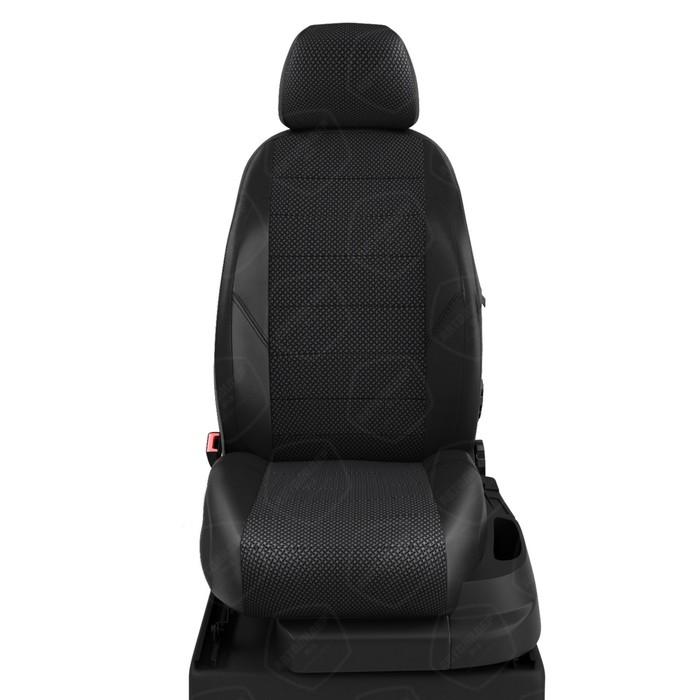Чехлы для Nissan Navara 3 D40 с 2005-н.в. джип-пикап Задние спинка и сиденье 40/60 (пассажир. спинка не складывается), задний подлокот., 4 погдоловника Середина: жаккард готика. Боковины: чёрная экокожа. Спинка: чёрная экокожа. фото