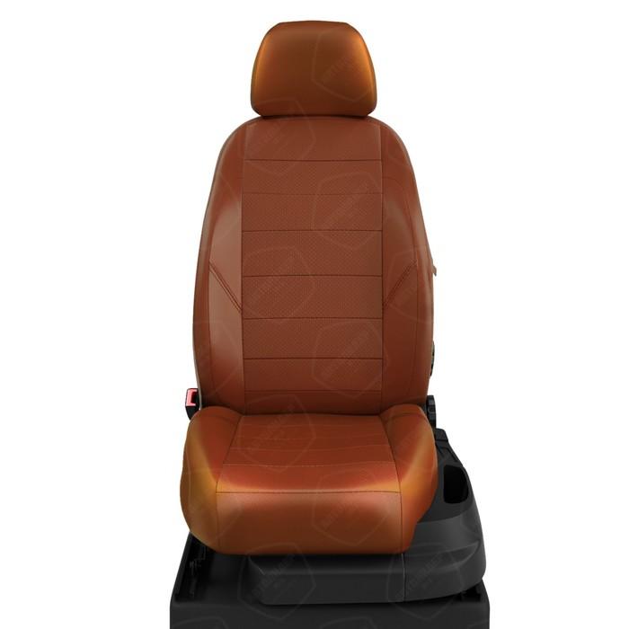 Чехлы для Nissan Terrano 3 с 2016-н.в. джип Рестайлинг. Задняя спинка 40/60, сиденье единое, 5-подголов.. ( с AIR-Bag и БЕЗ AIR-Bag передние сиденья) Середина: экокожа паприка с перф.. Боковины: паприка экокожа. Спинка: паприка экокожа фото