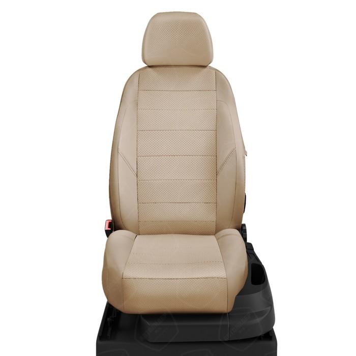 Чехлы для Volkswagen Touareg 2 с 2011-н.в. джип Сборка Калужская. Задние спинка 40 на 20 на 40, сиденье 40/60, 5-подголов. (передние Активные). Середина: экокожа бежевая с перф.. Боковины: бежевая экокожа. Спинка: бежевая экокожа фото