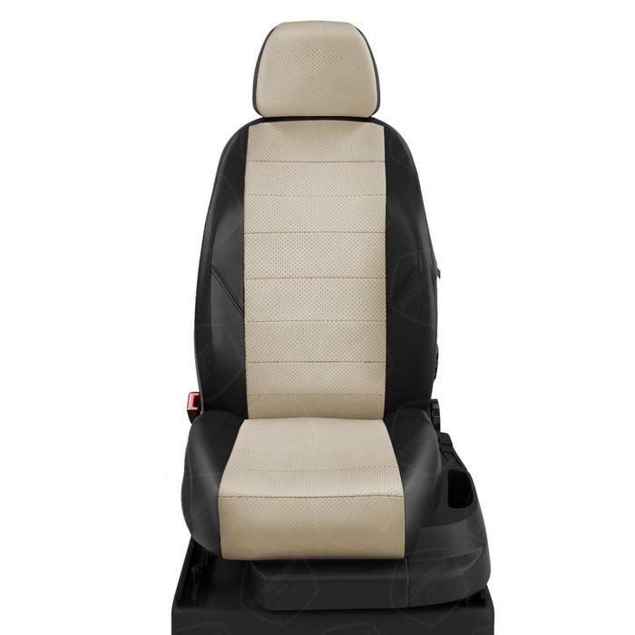 Чехлы для Volkswagen Passat B6 с 2005-2011г. универсал Задние спинка и сиденье 40/60. Передний подлокот., задний подлокот. (молния), 2надкрыл., 5 подголов. Середина: экокожа кремовая с перф.. Боковины: чёрная экокожа. Спинка: чёрная экокожа. фото