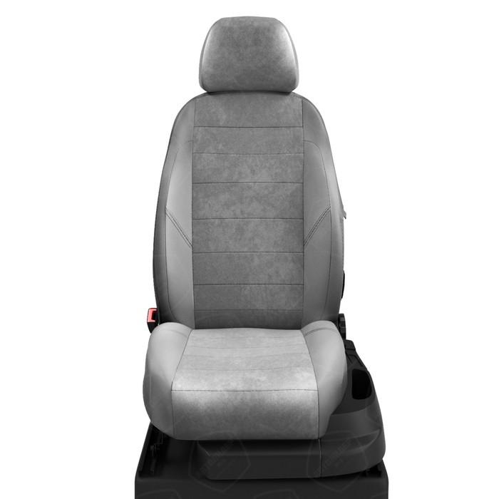 Чехлы для Mercedes Benz C-classe W 203 с 2000-2007г. седан Задние спинка и сиденье единые. Задний подлокот. (молния) Середина: серая алькантара. Боковины: светло-серая экокожа. Спинка: с-серая экокожа фото