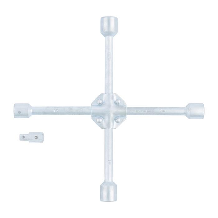 Ключ-крест STELS, баллонный, 17 х 19 х 21 х 22 х 1/2 , усиленный, с переходником на 1/2