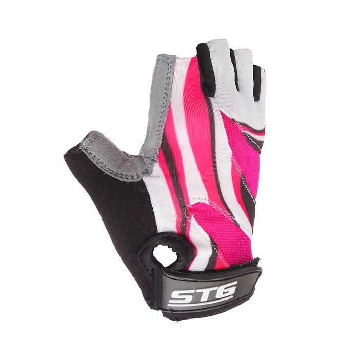 Купить со скидкой Перчатки велосипедные STG, размер L, цвет чёрно-розовый