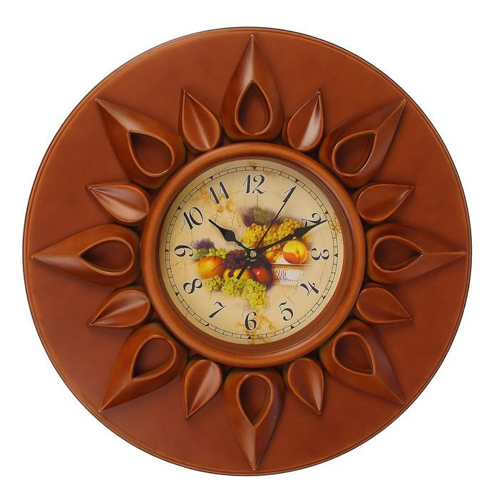 Часы настенные серия Шоколад, круг, лучики солнца по кругу, фрукты на циферблате, d=43см фото