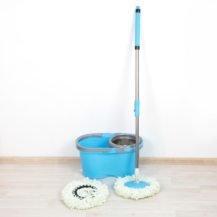 Набор для уборки: швабра, ведро со съемной центрифугой, швабра, доп. насадка, цвет МИКС фото
