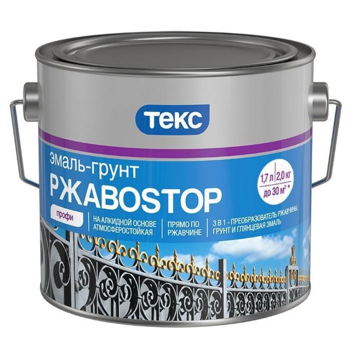 Эмаль-грунт РжавоStop ПРОФИ ТЕКС коричневая гл 0,9кг фото