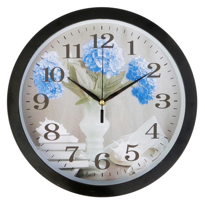 Часы настенные круглые, на циферблате Незабудки, рама черная, d=33см фото