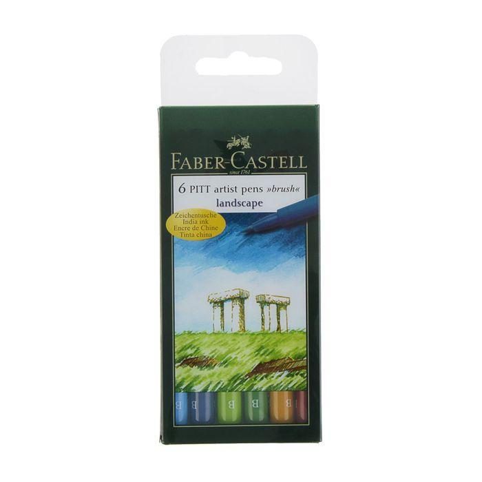 Ручка кисть капиллярная набор Faber-Castell PITT Artist Pen Brush 6 цветов натур.от 167105 фото
